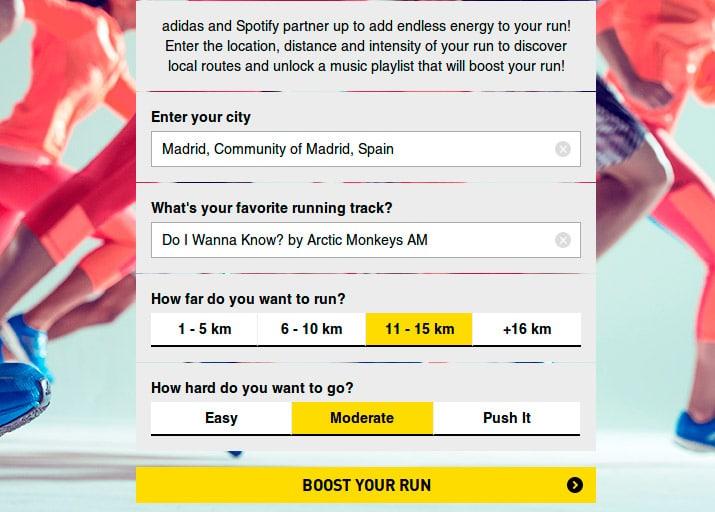 spotify y adidas crear listas musica para correr