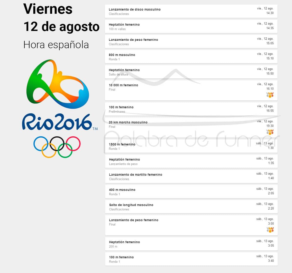 12 viernes horario atletismo en rio 2016