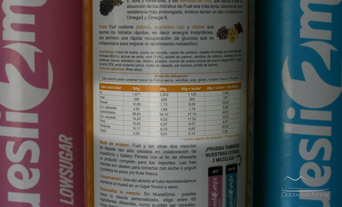 Muesli2Mix Fuel Informacion nutricional