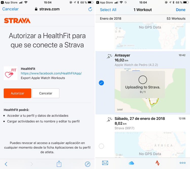 exportar entrenamientos apple watch con healthfit