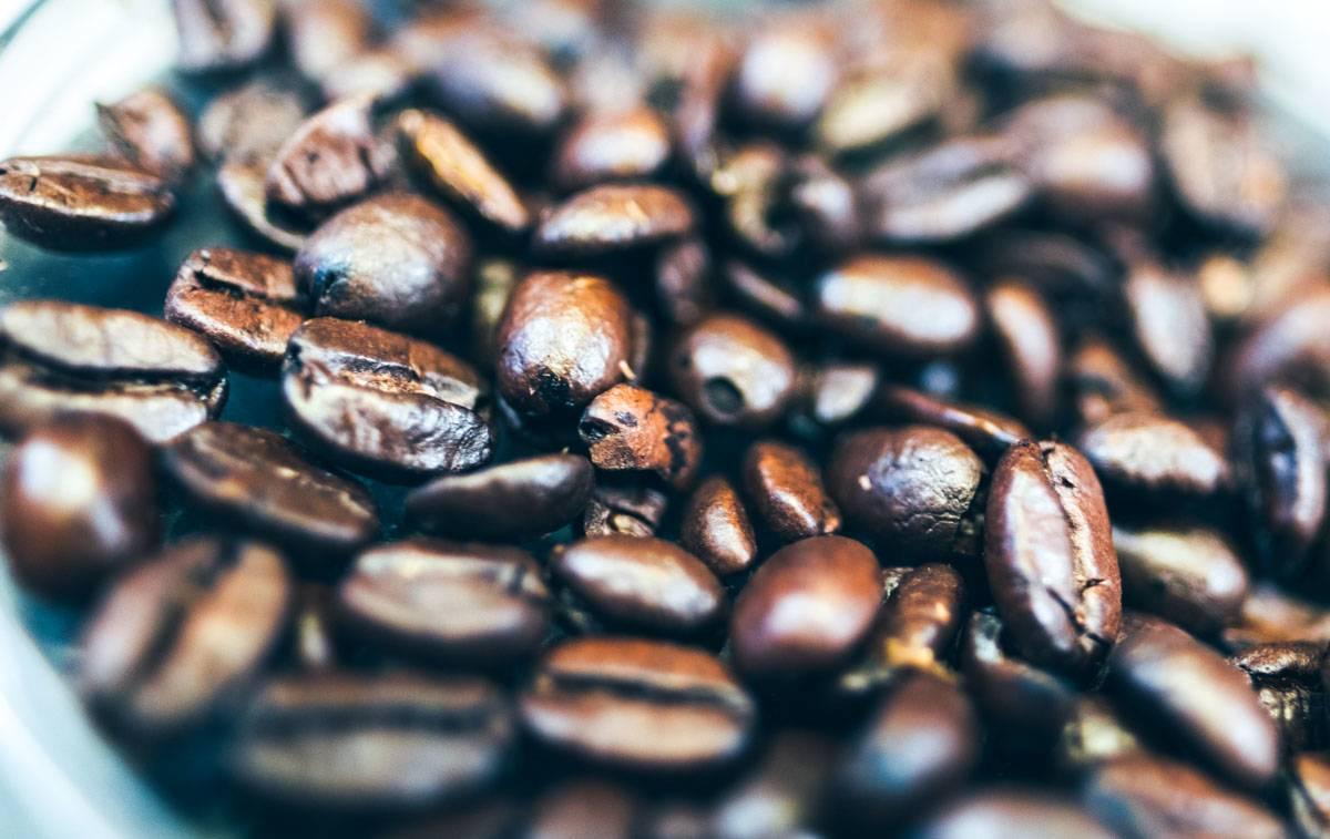 cafeina y granos de cafe