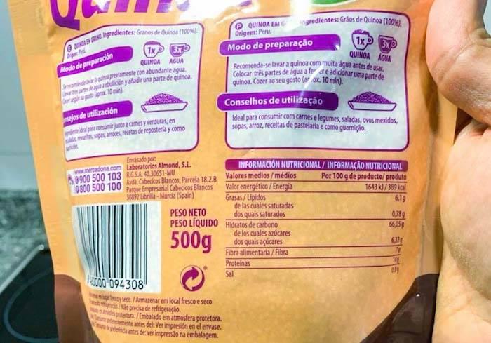 informacion nutricional quinoa